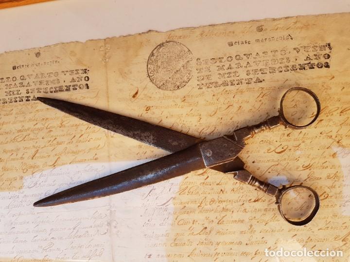 Antigüedades: Tijeras de escribano de Albacete antiguas de las primeras,año 1660 aprox - Foto 6 - 211671704