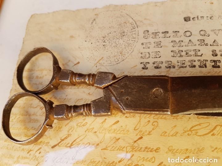 Antigüedades: Tijeras de escribano de Albacete antiguas de las primeras,año 1660 aprox - Foto 7 - 211671704