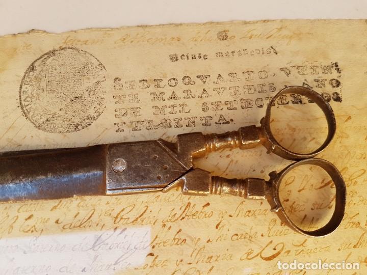 Antigüedades: Tijeras de escribano de Albacete antiguas de las primeras,año 1660 aprox - Foto 10 - 211671704