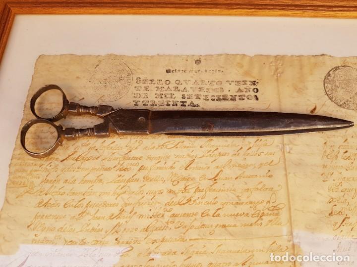 Antigüedades: Tijeras de escribano de Albacete antiguas de las primeras,año 1660 aprox - Foto 11 - 211671704