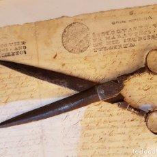 Antigüedades: TIJERAS DE ESCRIBANO DE ALBACETE ANTIGUAS DE LAS PRIMERAS,AÑO 1660 APROX. Lote 238460415