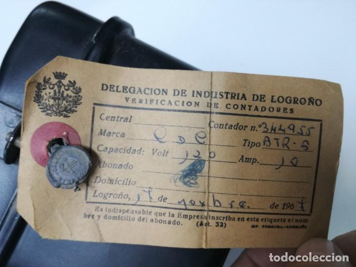 Antigüedades: ANTIGUO CONTADOR ELÉCTRICO LUZ - CDC BTR6 MONOFASICO 2 HILOS.1967,DELEGACION INDUSTRIA DE LOGROÑO - Foto 6 - 211890177