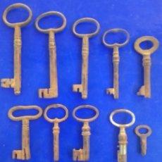 Antiquités: LOTE 10 LLAVES ANTIGUAS DE FORJA. Lote 211959146