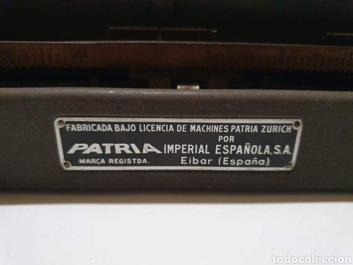 Antigüedades: Maquina de escribir patria, imperial española, eibar, España. - Foto 5 - 212471277