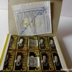 Antigüedades: ANTIGUA CAJA COMPLETA DE HOJAS DE AFEITAR CANCILLER. Lote 212543742