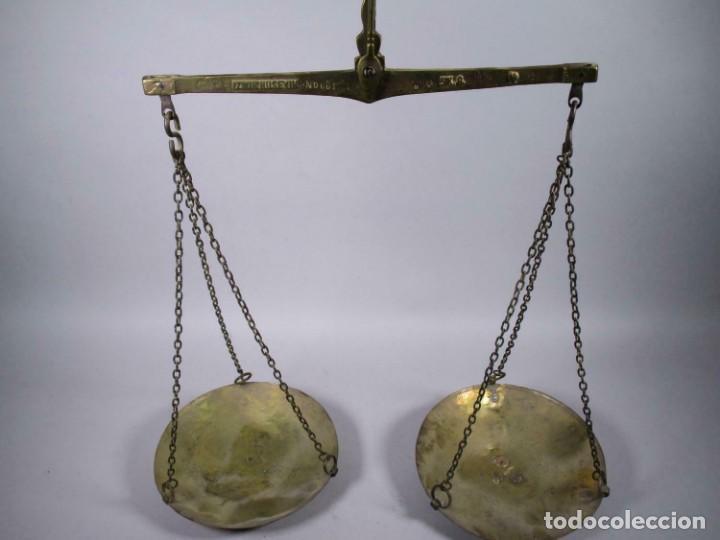 ANTIGUA ROMANA IZMIR HÜSEYN FIRMA SIGLO XVIII XIX VIGAS BÁSCULA, BALANZA PESADA 5 KG. 25 CM Ø PLATO (Antigüedades - Técnicas - Medidas de Peso - Romanas Antiguas)