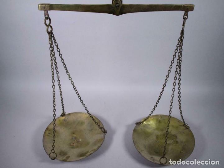 Antigüedades: Antigua romana izmir Hüseyn FIRMA SIGLO XVIII XIX vigas báscula, balanza pesada 5 kg. 25 cm Ø plato - Foto 3 - 212841212