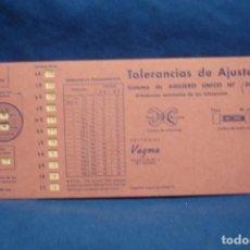 Antigüedades: ANTIGUA REGLA DE CÁLCULO, PLANTILLA TOLERANCIAS DE AJUSTE ISO ( DIN 7154 ) EDITORIAL VAGMA 1966. Lote 213018018