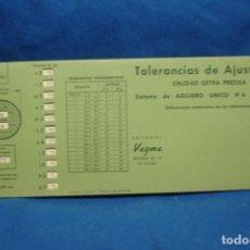 Antigüedades: ANTIGUA REGLA DE CÁLCULO, PLANTILLA TOLERANCIAS DE AJUSTE ISA ( DIN 7154 ) EDITORIAL VAGMA 1966. Lote 213019061