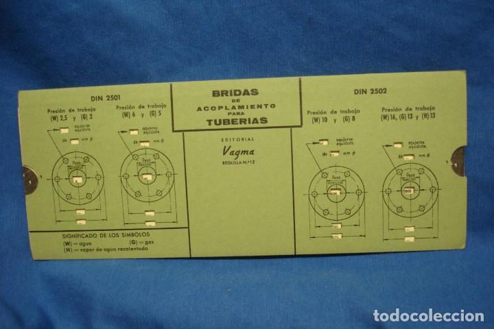 ANTIGUA REGLA DE CÁLCULO, PLANTILLA DE BRIDAS DE ACOPLAMIENTO PARA TUBERÍAS - EDITORIAL VAGMA 1966 (Antigüedades - Técnicas - Aparatos de Cálculo - Reglas de Cálculo Antiguas)