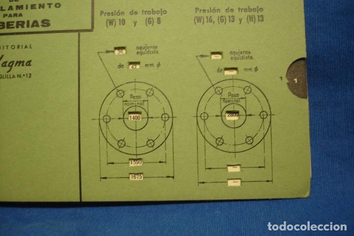 Antigüedades: ANTIGUA REGLA DE CÁLCULO, PLANTILLA DE BRIDAS DE ACOPLAMIENTO PARA TUBERÍAS - EDITORIAL VAGMA 1966 - Foto 4 - 213019321