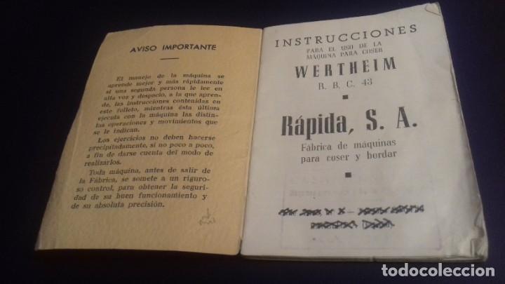 Antigüedades: Instrucciones para el uso de la máquina de coser WERTHEIM RAPIDA - Foto 2 - 213315903