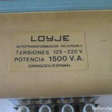 Antigüedades: AUTOTRANSFORMADOR REVERSIBLE 125-220 V. POTENCIA 1500 V.A. LOYJE ZARAGOZA. Lote 213817081