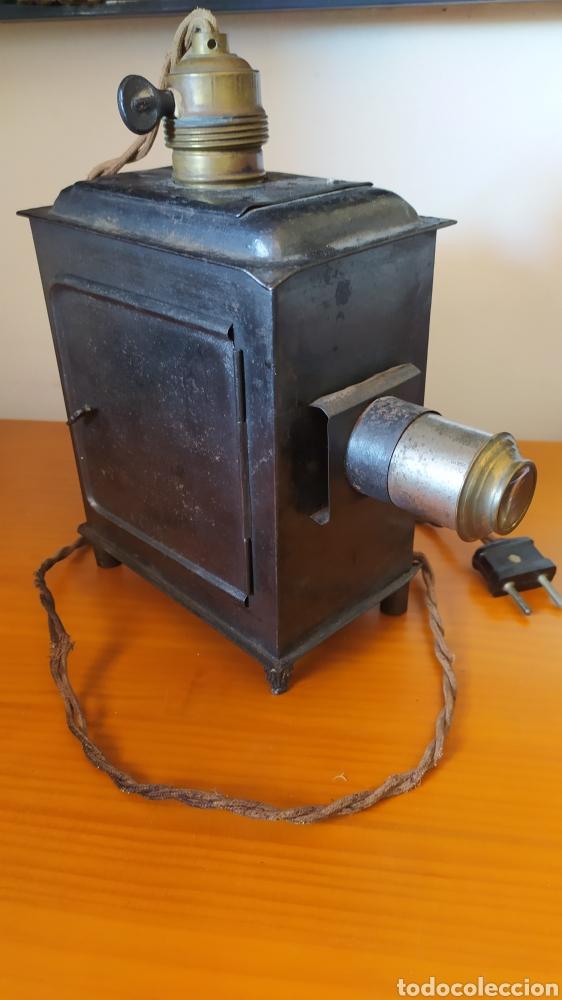 ANTIGUA LINTERNA MÁGICA ELECTRIFICADA (Antigüedades - Técnicas - Aparatos de Cine Antiguo - Linternas Mágicas Antiguas)
