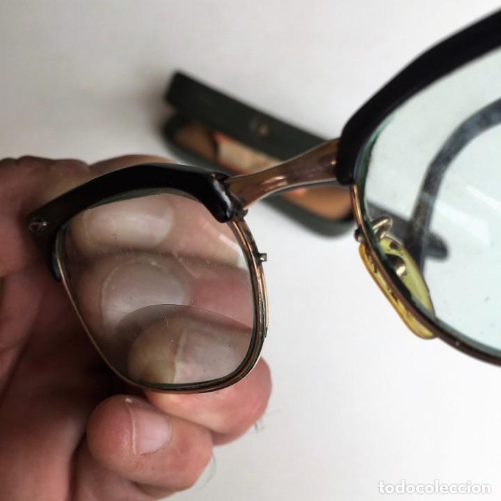 Antigüedades: Antiguas gafas bifocales CARABELA BARBUDO pasta y metal chapado en oro años 60. COLECCIONISTAS - Foto 3 - 214008460