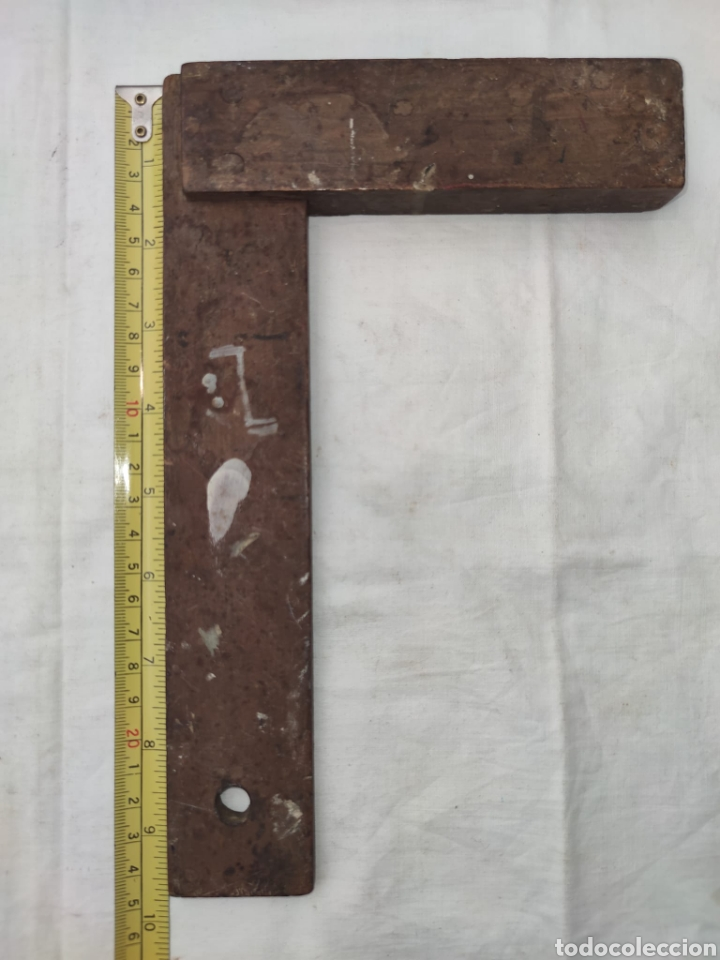 Antigüedades: ANTIGUA ESCUADRA DE MADERA 24.4 x 15.4 CM - Foto 5 - 214020372