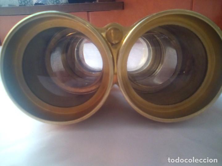 Antigüedades: prismaticos bronce o laton - Foto 5 - 214145020