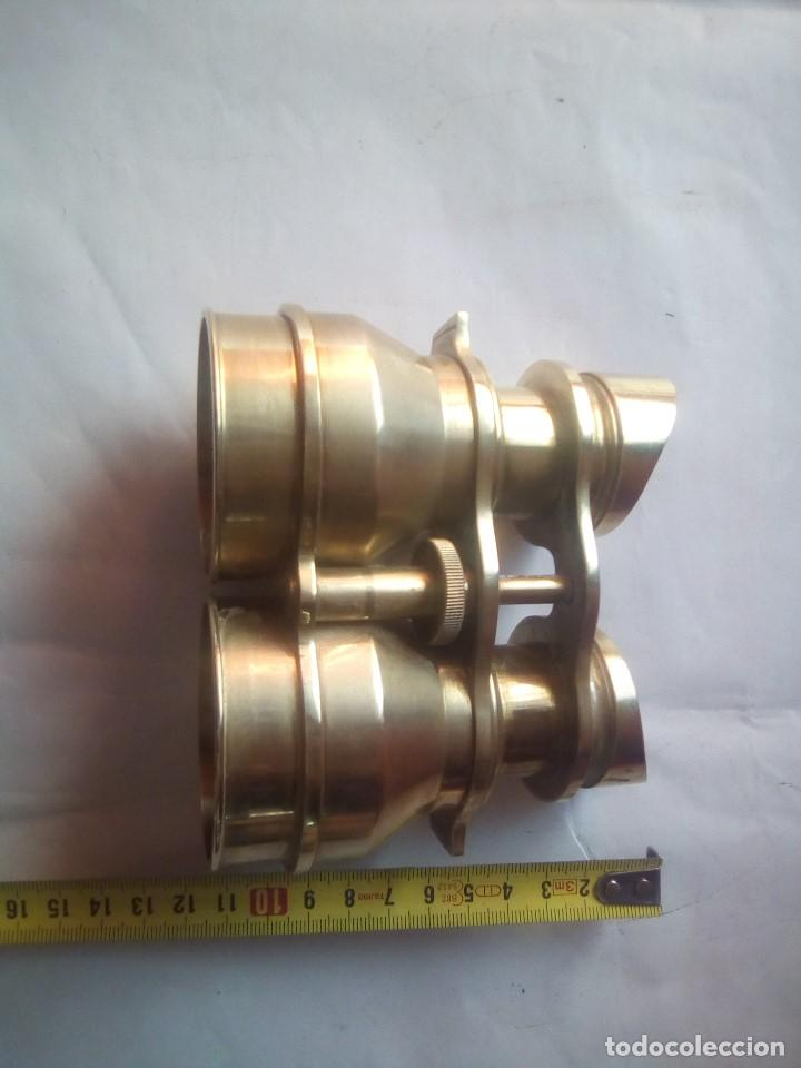 Antigüedades: prismaticos bronce o laton - Foto 7 - 214145020