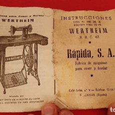 Antigüedades: ANTIGUO LIBRO DE INSTRUCCIONES MAQUINA DE COSER WERTHEIM RBC 43 RAPIDA SA. Lote 232051015