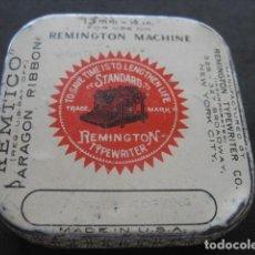 Antigüedades: CAJA METAL CINTA MAQUINA ESCRIBIR REMINGTON. Lote 214246658