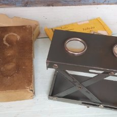 Antiquités: ESTEREOSCOPIO ANTIGUO , CON 30 VISTAS ESTEREOSCOPICAS , CAJA ORIGINAL , EXCELENTE ESTADO .. Lote 214297055