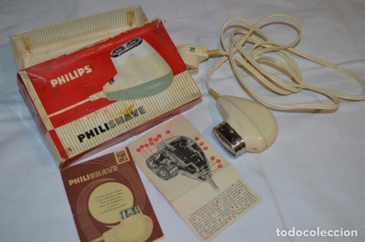 ANTIGUA AFEITADORA ELÉCTRICA PHILISHAVE / PHILIPS - CAJA E INSTRUCCIONES ORIGINALES / VINTAGE ¡MIRA! (Antigüedades - Técnicas - Barbería - Maquinillas Antiguas)