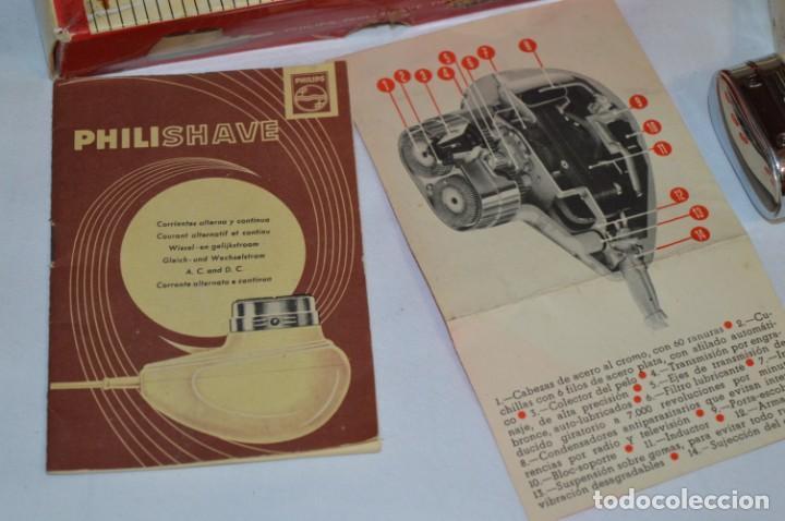 Antigüedades: ANTIGUA AFEITADORA ELÉCTRICA PHILISHAVE / PHILIPS - Caja e instrucciones originales / VINTAGE ¡MIRA! - Foto 10 - 214325091