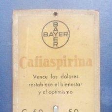 Antigüedades: TERMÓMETRO CON PUBLICIDAD DE BAYER - CAFIASPIRINA.. Lote 214376841