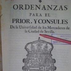 Antigüedades: ORDENANZAS PARA EL PRIOR Y CONSULES, MERCADERES DE INDIAS, AÑO DE 1.759. Lote 214452233