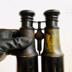 Antigüedades: ANTIGUOS PRISMÁTICOS DE LATÓN EN COLOR NEGRO CATALEJOS MARINOS O DE CAZA BINOCULARES METALICOS. Lote 214452545