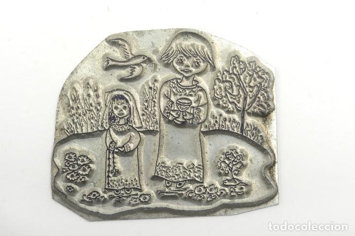 Antigüedades: Placa de imprenta antigua ilustración religiosa - Foto 2 - 214477438
