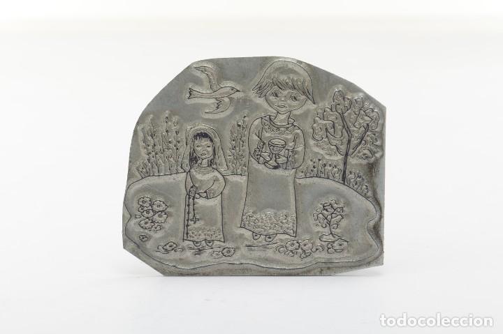 Antigüedades: Placa de imprenta antigua ilustración religiosa - Foto 6 - 214477438