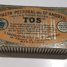 Antigüedades: CAJA DE METAL DOCTOR ANDREU PASTA PECTORAL. Lote 214861847