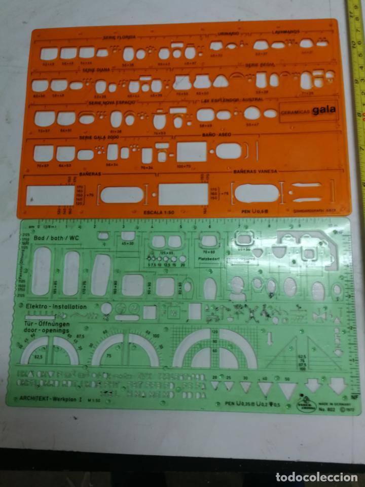 2 PLANTILLAS PARA ARQUITECTOS 802 1:50 FABER-CASTELL Y STANDARDGRAPH 6878 DE CERAMICAS GALA AÑOS 70 (Antigüedades - Técnicas - Aparatos de Cálculo - Reglas de Cálculo Antiguas)