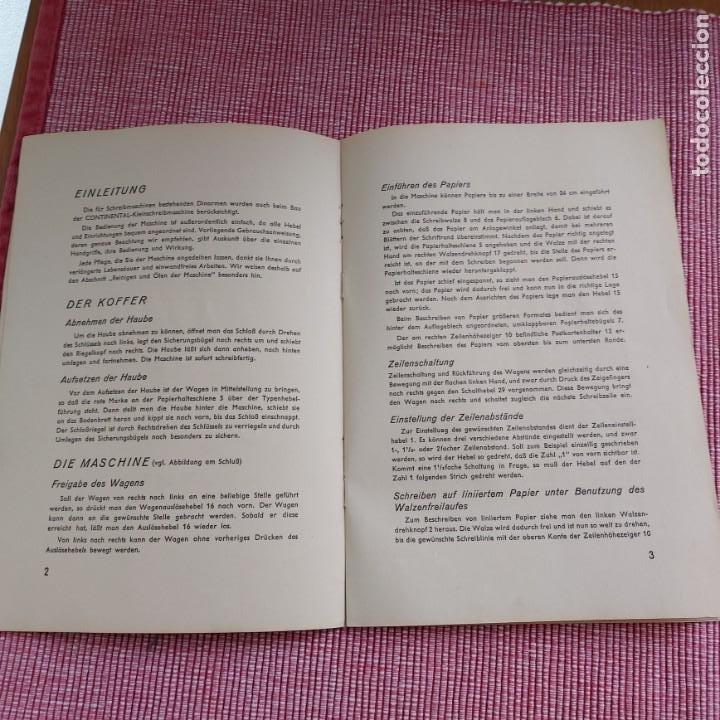 Antigüedades: Instrucciones Máquina de escribir-**CONTINENTAL(portatil)**(en ALEMÁN) ---ORIGINAL 100% - Foto 3 - 215011685