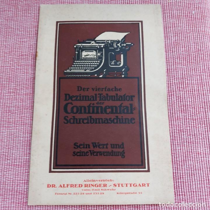 INSTRUCCIONES MÁQUINA DE ESCRIBIR*CONTINENTAL CON TABULADOR/DECIMALES**(EN ALEMÁN) -ORIGINAL 100% (Antigüedades - Técnicas - Máquinas de Escribir Antiguas - Continental)