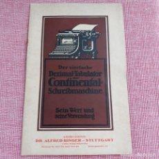 Antigüedades: INSTRUCCIONES MÁQUINA DE ESCRIBIR*CONTINENTAL CON TABULADOR/DECIMALES**(EN ALEMÁN) -ORIGINAL 100%. Lote 215012337