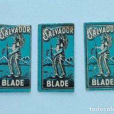 Antigüedades: 3 HOJAS DE AFEITAR SALVADOR BLADE AZUL DE LOS AÑOS 40-50. Lote 215391536
