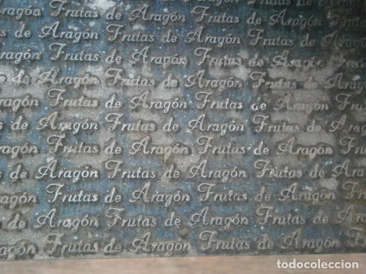 Antigüedades: ¡¡ IMPRESIONANTE `PRECIOSO MOLDE DE IMPRENTA ¡¡AÑOS 1920 -1930 FRUTAS DE ARAGON - Foto 4 - 215673293