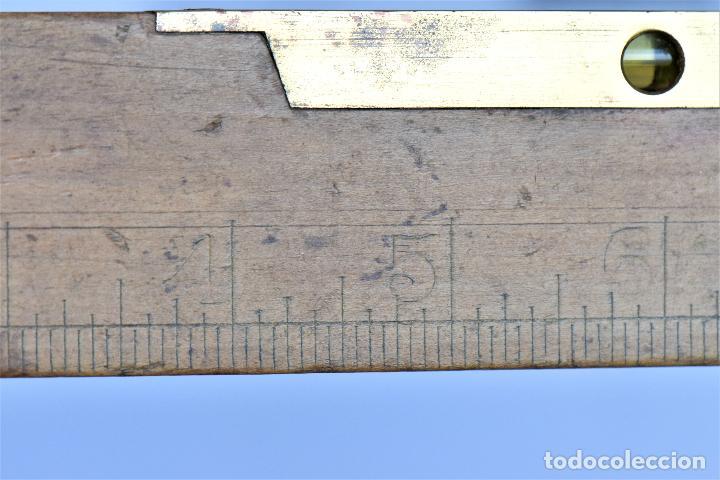 Antigüedades: NIVEL SIN MARCA CON SUS BURBUJAS DE 30 CM DE LARGO, 4 DE ALTO Y 1,2 CM DE ANCHO EN CMS Y PULGADAS - Foto 6 - 216001643