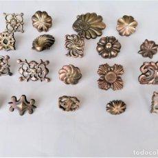 Antigüedades: COLECCION 19 ANTIGUOS BRONCES DECORATIVOS SIGLO XIX, PARA MUEBLES,BARCOS,CARROZAS,CABALLOS,CATALUNYA. Lote 216357080