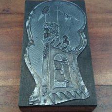 Antigüedades: ANTIGUO Y ESCASO TAMPÓN O PLACA DE IMPRENTA, CAMPANARIO CON NIDO, ILUSTRACION FIRMADA. AÑOS 40. Lote 216512487
