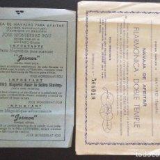 Antiguidades: JOSÉ MONSERRAT POU ,PUBLICIDA DE NAVAJAS DE AFEITAR Y DOCUMENTO DE GARANTÍA DE NAVAJA FILARMÓNICA. Lote 216671037