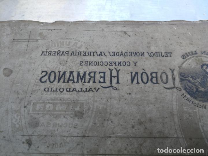 Antigüedades: PIEDRA LITOGRÁFICA, ETIQUETA LEBON HERMANOS SASTRERIA VALLADOLID PLANCHA PULIDA IMPRENTA - Foto 2 - 216692146