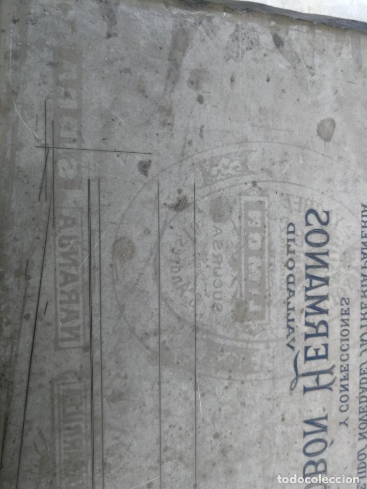 Antigüedades: PIEDRA LITOGRÁFICA, ETIQUETA LEBON HERMANOS SASTRERIA VALLADOLID PLANCHA PULIDA IMPRENTA - Foto 6 - 216692146