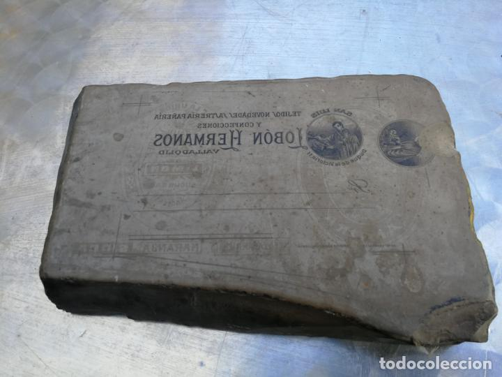 PIEDRA LITOGRÁFICA, ETIQUETA LEBON HERMANOS SASTRERIA VALLADOLID PLANCHA PULIDA IMPRENTA (Antigüedades - Técnicas - Herramientas Profesionales - Imprenta)