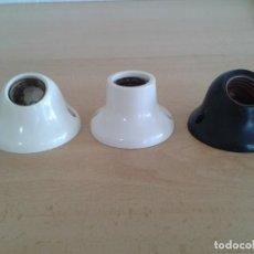 Antigüedades: 3 PORTALAMPARAS DE PARED BAQUELITA E-27. Lote 216742690