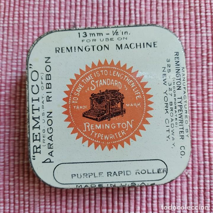 ANTIGUA CAJA CINTA MAQUINA ESCRIBIR **REMTICO-PARAGON---REMIGTON 13 MM ** PERFECTA-RARA*CAJA --USA (Antigüedades - Técnicas - Máquinas de Escribir Antiguas - Remington)