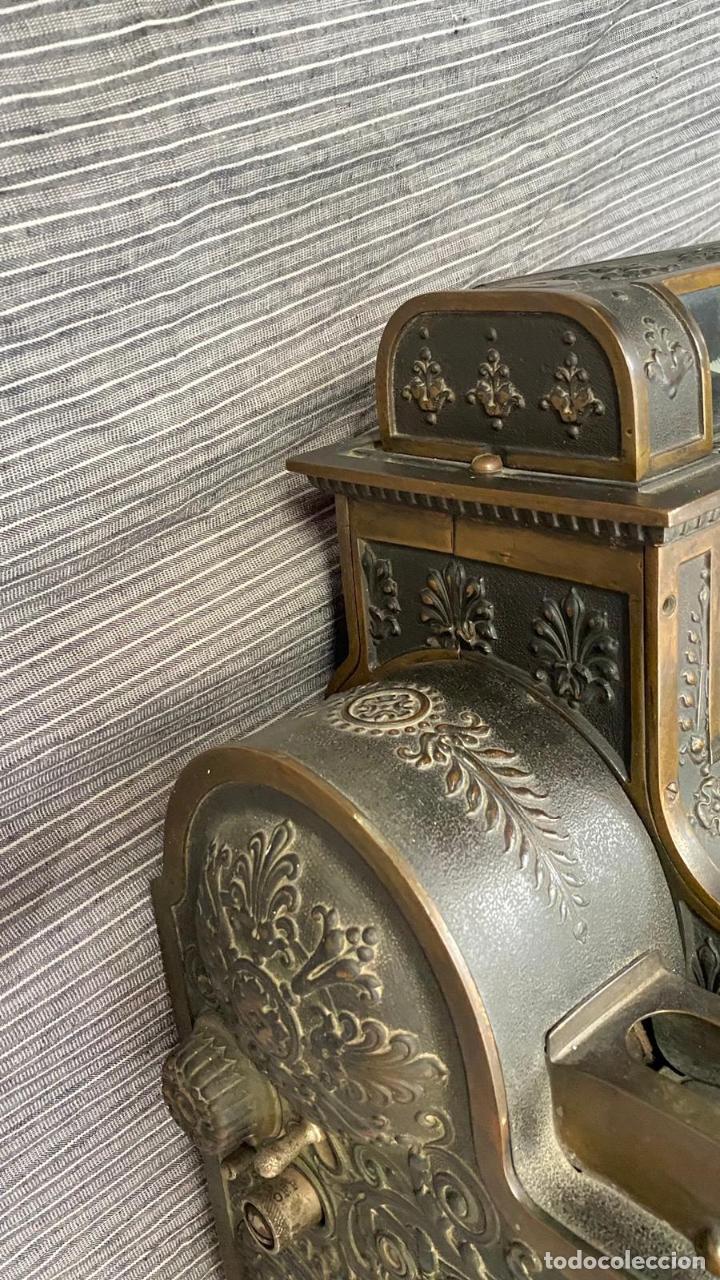 Antigüedades: PRECIOSA CAJA REGISTRADORA NATIONAL SIGLO XIX - Modelo con metal repujado - Foto 9 - 217205650