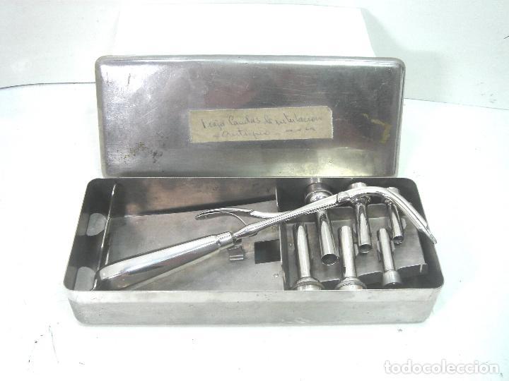 ANTIGUO JUEGO MEDICO - CANULAS DE INTUBACION AÑOS 50 - INSTRUMENTAL QUIRURJICO KIT CLINICO (Antigüedades - Técnicas - Herramientas Profesionales - Medicina)
